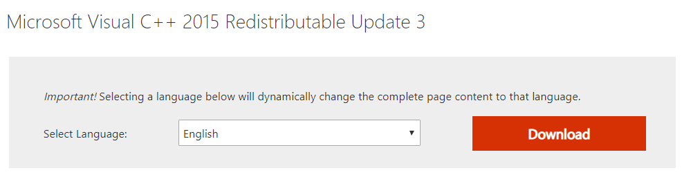 Microsoft Visual C 2015 Redistributable Update 3