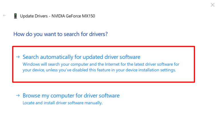 Update Driver Software Option