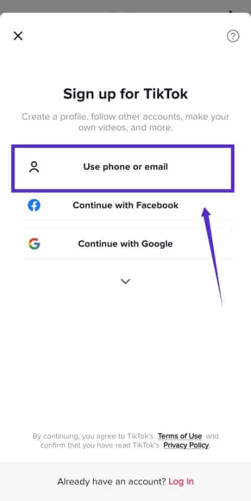 Use Phone Number To Signup TikTok