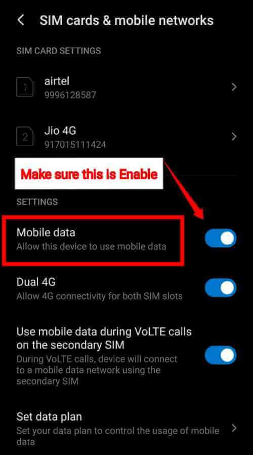 Enable Mobile Data