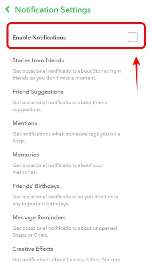 Snapchat Enable Notifications