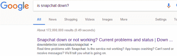 Snapchat is down or not