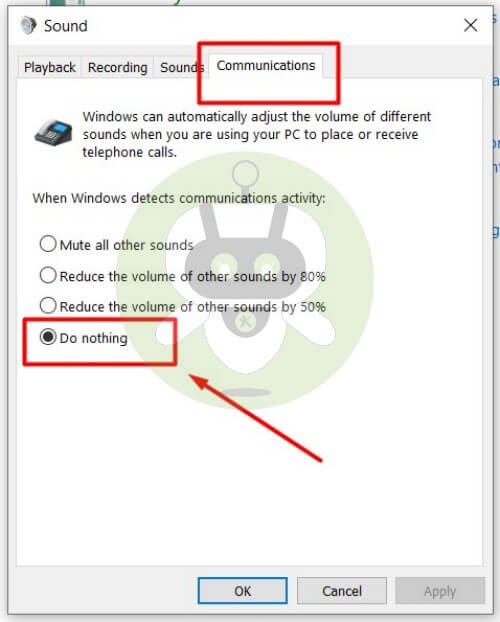 Windows 10 Sound Communications Setting