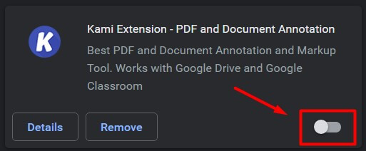 Turn Off Kami Extension In Google Chrome