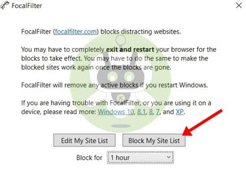 Block My Site List - FocalFilter