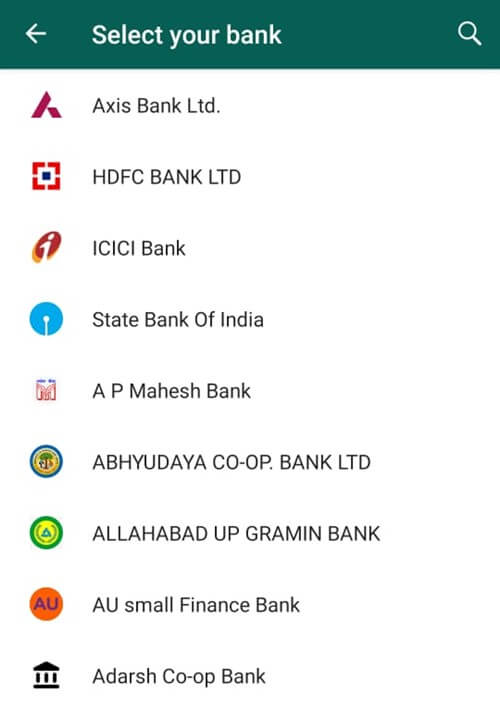 Choose Your Affiliated Bank - Android WhatsApp