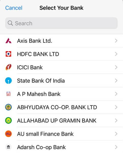 Choose Your Affiliated Bank - iPhone WhatsApp