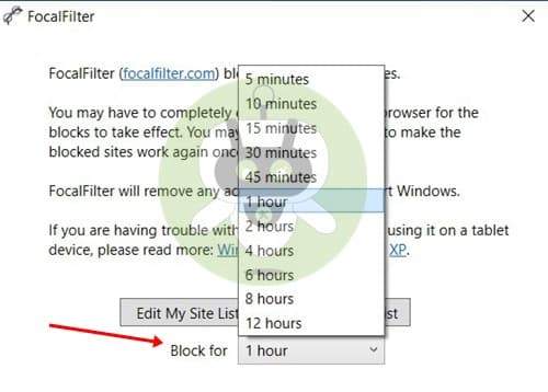 Select Duration - FocalFilter