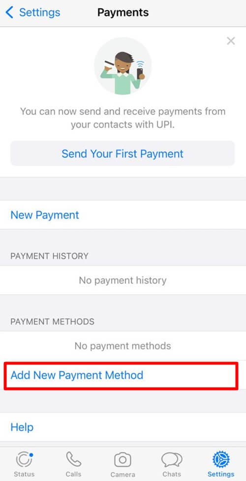 Tap On Add New Payment Method - iPhone WhatsApp