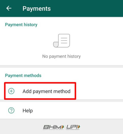 Tap On Add Payment Method - Android WhatsApp
