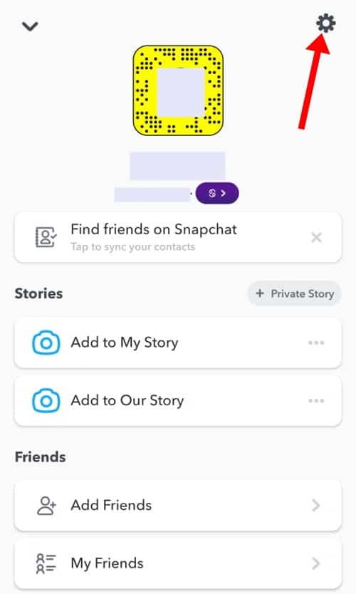 Tap On Gear Icon - Remove Account From Snapchat