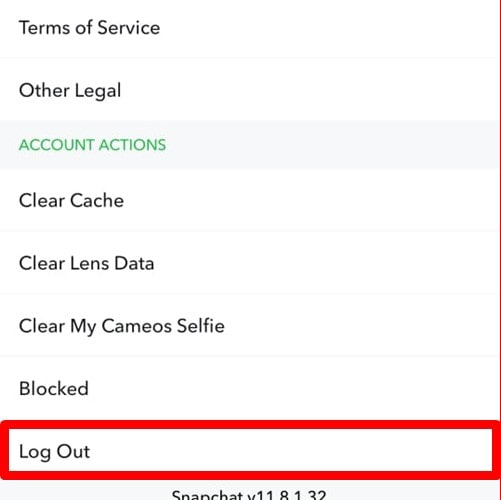 Tap On Logout - Remove Account From Snapchat