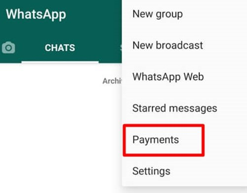 Tap On Payments - Android WhatsApp