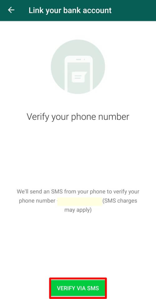 Tap On Verify Via SMS - Android WhatsApp