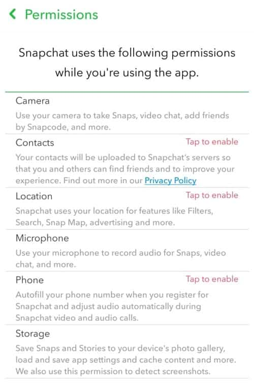 Tap To Enable Permissions - Check Snapchat Permissions