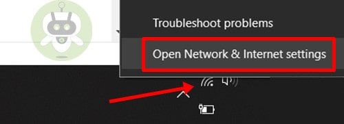 Click On Open Network & Internet Settings