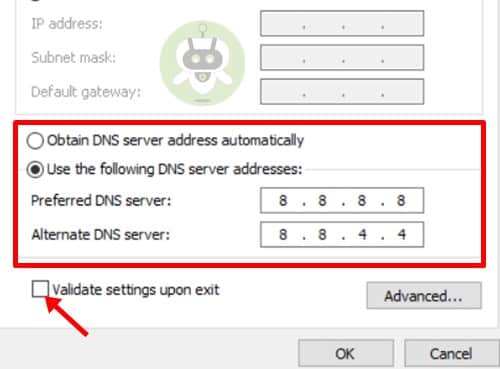 Click On Validate Settings Upon Exit