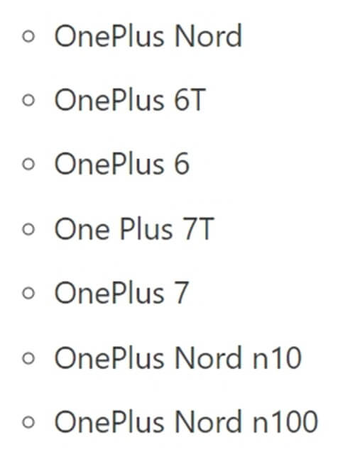 List Of OnePlus Devices Eligible For OxygenOS 11