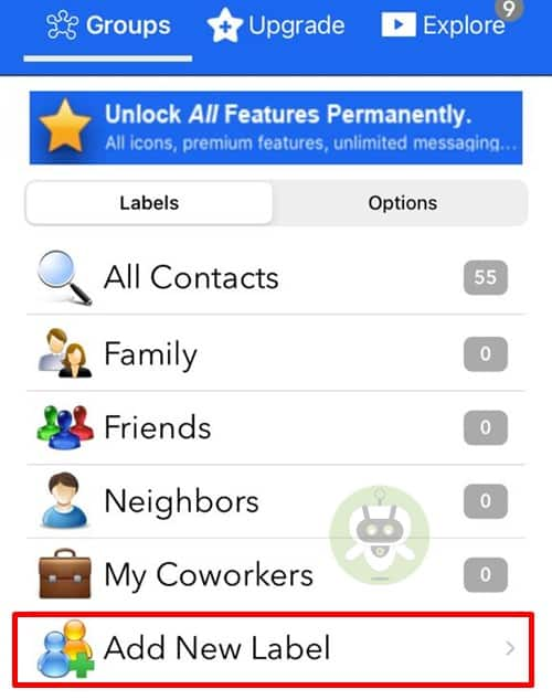 Tap On Add New Label - Groups App