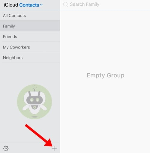 Tap On Plus Icon - Contact Group iCloud