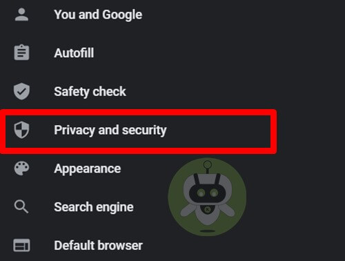 Click On Privacy And Security