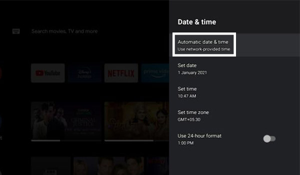 Click On Automatic Date And Time