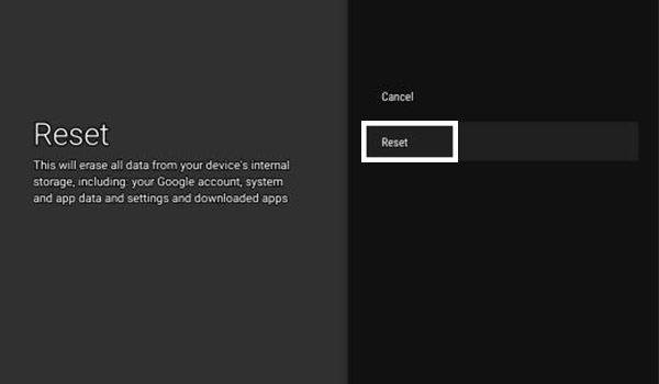 Click On Reset - Android TV