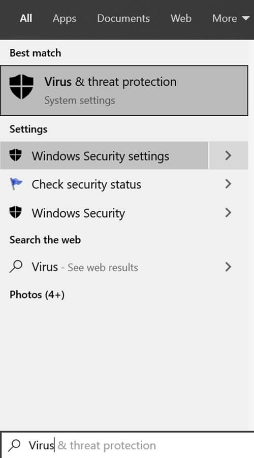 Search Virus & Threat Protection