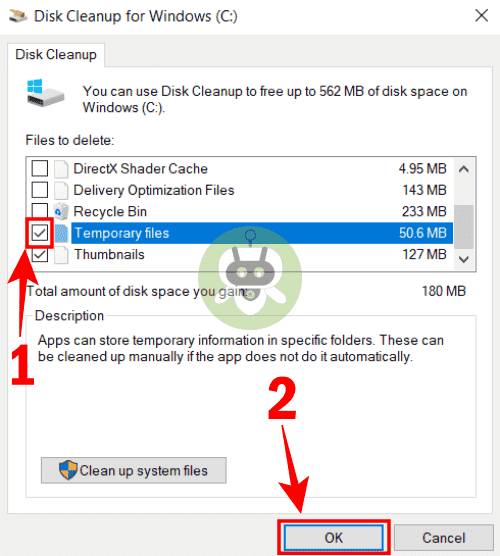Select The Temporary Files Option