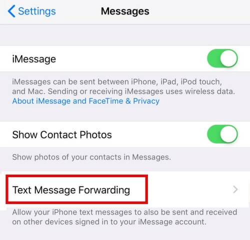 Tap On Text Message Forwarding