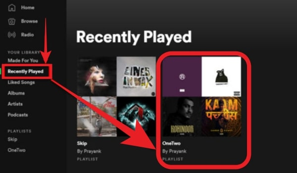 Click On Recently Played