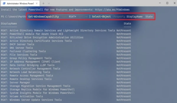 Type The Command - RSAT Tools