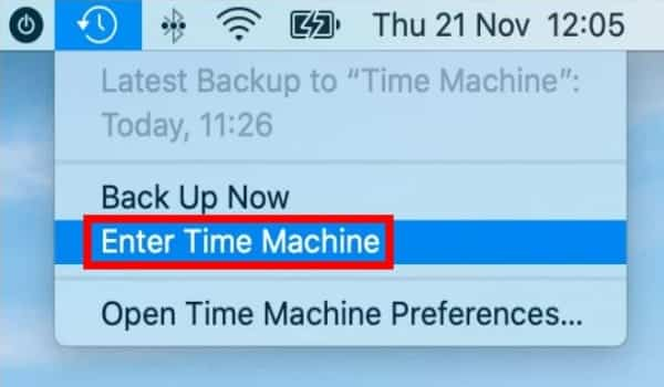 Click On Enter Time Machine
