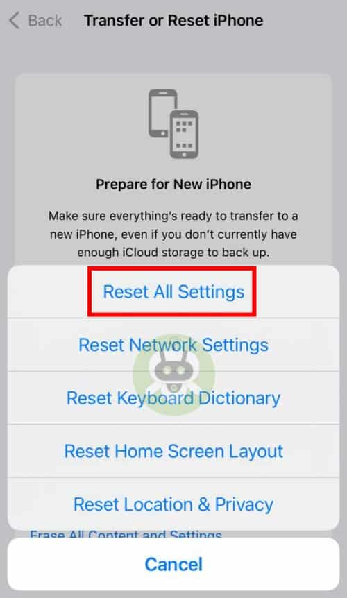 Tap On Reset All Settings